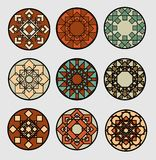 Set of geometric patterned circles in traditional ethnic style. Decoration for ceramics design. Stock Photo