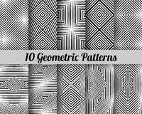 Set of 10 geometric patterns. Black and white seamless vector backgrounds Royalty Free Stock Photos