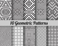 Set of 10 geometric patterns. Black and white seamless vector backgrounds Royalty Free Illustration