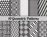 Set of 10 geometric patterns. Black and white seamless vector backgrounds Stock Illustration