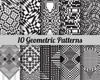 Set of 10 geometric patterns. Black and white seamless vector backgrounds Vector Illustration