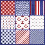 Set of Geometric Patterns in Marine Style. Set of Seamless Geometric Patterns in Marine Style. Vector illustration royalty free illustration