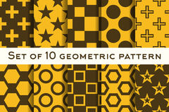 Set of 10 geometric patterns in orange and brown colors. Vector illustration Stock Photo