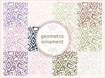Set of geometric patterns in pastel gentle tones. Seamless pattern, background, texture. Vector ornament. Decorative tiles. Set of geometric patterns in pastel stock illustration