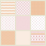 Set of geometric patterns in shades of pale pink. Royalty Free Stock Photo