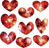 Set of geometric polygonal hearts Stock Photo
