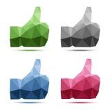 Set of geometric polygonal thumb up icons Stock Photo