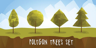 Set geometric polygonal trees with. Geometric polygon trees with different crowns. low-poly and isometric vector trees Royalty Free Stock Image