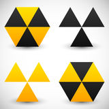 Set of geometric radiation sign icons. 4 version. Royalty Free Stock Photos