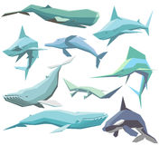 Set of geometric sea animals. Vector set of isolated geometric polygon sea animals Royalty Free Stock Image