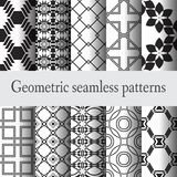 Set 10 geometric seamless pattern. Set of 10 black and white seamless patterns, geometry, monochrome Royalty Free Stock Images