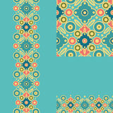 Set of geometric seamless pattern and borders Stock Photos
