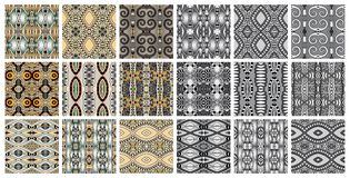 Set of 18 geometric seamless pattern in ethnic style. Vector illustration collection Royalty Free Stock Photography