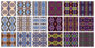 Set of 18 geometric seamless pattern in ethnic style. Vector illustration collection Stock Images