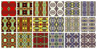 Set of 18 geometric seamless pattern in ethnic style. Vector illustration collection Stock Photos