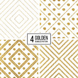 Set of geometric seamless pattern  gold glitter stripes and circles Royalty Free Stock Images