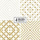 Set of geometric seamless pattern gold glitter stripes and circles. Set of geometric seamless pattern of gold glitter stripes and circles, abstract seamless vector illustration