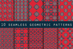 Set of 10 geometric seamless pattern. The pattern for wallpaper, tiles, fabrics and designs. Stock Image