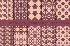 Set of 10 geometric seamless pattern. The pattern for wallpaper, tiles, fabrics and designs. Royalty Free Stock Photography