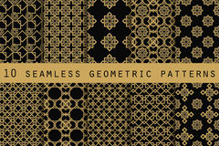 Set of 10 geometric seamless pattern. The pattern for wallpaper, tiles, fabrics and designs. stock illustration
