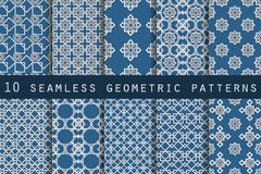 Set of 10 geometric seamless pattern. The pattern for wallpaper, tiles, fabrics and designs. Vector Royalty Free Stock Photography