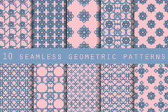 Set of 10 geometric seamless pattern. Rose quartz and serenity violet colors. Vector illustration. Set of 10 geometric seamless pattern. Rose quartz and Royalty Free Stock Photography