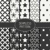 Set of geometric seamless pattern with stars Stock Images