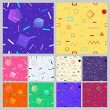 Set of geometric seamless patterns. Set of abstract seamless patterns of lines, dots and geometric shapes in Memphis style Royalty Free Stock Photography