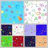 Set of geometric seamless patterns. Set of abstract seamless patterns of geometric shapes in Memphis style Stock Photography