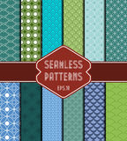 Set of 12 geometric seamless patterns. Stock Images