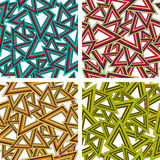 Set of geometric seamless patterns. In 4 color schemes stock illustration