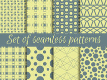 Set of geometric seamless patterns. Design with circles and lines. Stock Photography