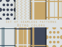Set of geometric seamless patterns. Gold and silver colors. Retr Stock Photos