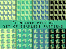 Set of geometric seamless patterns. Green and black color. For wallpaper, bed linen, tiles, fabrics, backgrounds. Royalty Free Stock Images