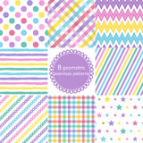 Set of 8 geometric seamless patterns. Set of 8 multicolored geometric seamless patterns, polka dot backgrounds, Zigzag, striped, Stars, checkered. Vector Vector Illustration