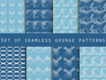 Set of geometric seamless patterns. The pattern of the lines. Collection of vector illustrations. Stock Images