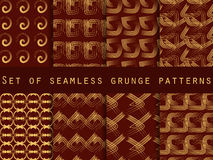 Set of geometric seamless patterns. The pattern of the lines. For wallpaper, bed linen, tiles, fabrics, backgrounds. Stock Photo
