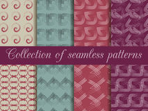 Set of geometric seamless patterns. The pattern of the lines. For wallpaper, bed linen, tiles, fabrics, backgrounds. Stock Photos
