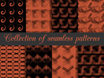 Set of geometric seamless patterns. The pattern of the lines. For wallpaper, bed linen, tiles, fabrics, backgrounds. Royalty Free Stock Photo