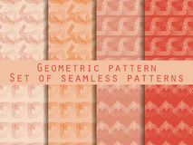 Set of geometric seamless patterns. Peach colour. Collection of vector illustrations. Stock Photo