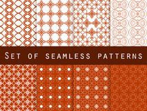 Set of geometric seamless patterns. Red and white. Vector illustration Royalty Free Stock Photo
