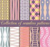 Set of geometric seamless patterns in retro colors. Geometric figures in the background. Stock Image