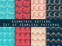 Set of geometric seamless patterns. Retro colors. For wallpaper, bed linen, tiles, fabrics, backgrounds. Collection of vector illustrations Royalty Free Stock Photo