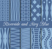 Set of geometric seamless patterns. Riverside and airy blue trend color. Collection of 10 seamless patterns. Vector illustration stock illustration