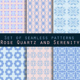 Set of geometric seamless patterns. Rose quartz and serenity violet colors. Royalty Free Stock Images