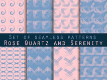 Set of geometric seamless patterns. Rose quartz and serenity violet colors. Stock Photography
