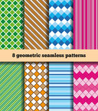 Set of geometric seamless patterns. A set of samples of fabric with eight geometrical pattern. Seamless texture. In the illustration used free font ChunkFive ( Royalty Free Stock Images