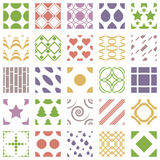 Set of 25 geometric seamless patterns with squares, circles, hearts and stars. Color geometric ornaments collections. Vector illustration Royalty Free Stock Photo