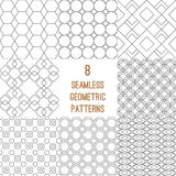 Set of 8 geometric seamless patterns Royalty Free Stock Images