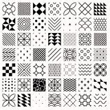 Set of geometric seamless patterns, triangles, lines, circles Royalty Free Stock Photography